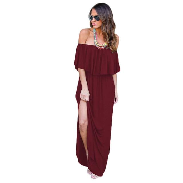 Thigh Split Maxi Dress - Red Color