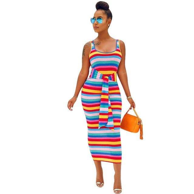 Multicolor Striped Printed Pencil Dress
