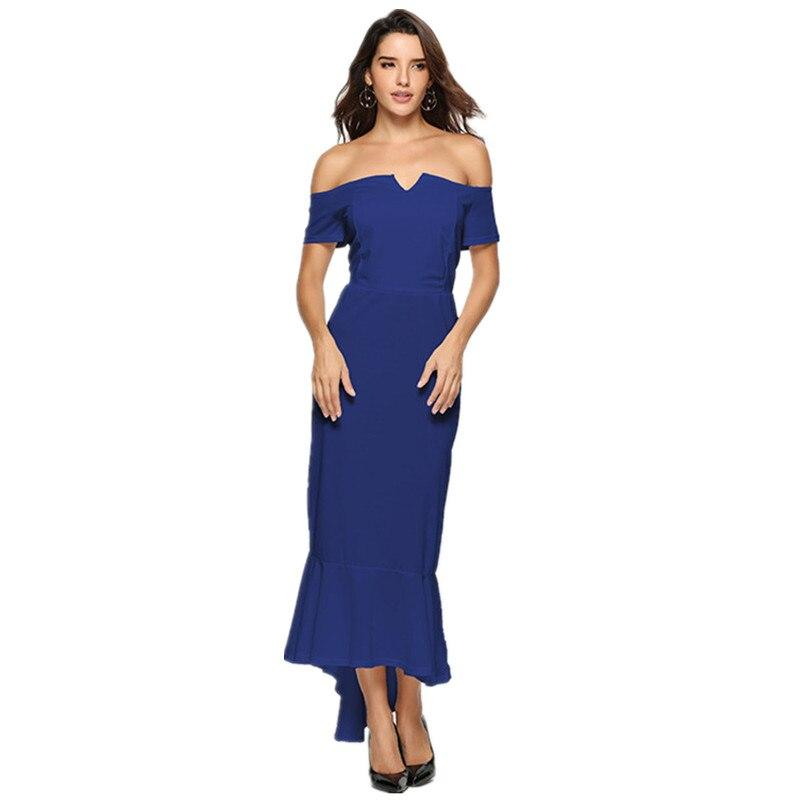Off-the Shoulder Collar V-neck Strapless Ruffles Dress