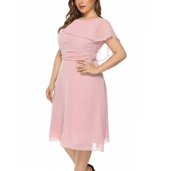 Plus Size Office Lady Style A-Line Chiffon Dress