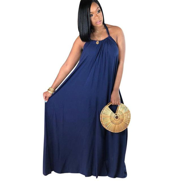 5 Colors Halter Maxi Dress Casual - Navy Color