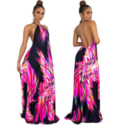 Printed Striped Bohemian Style Plus Size Dress