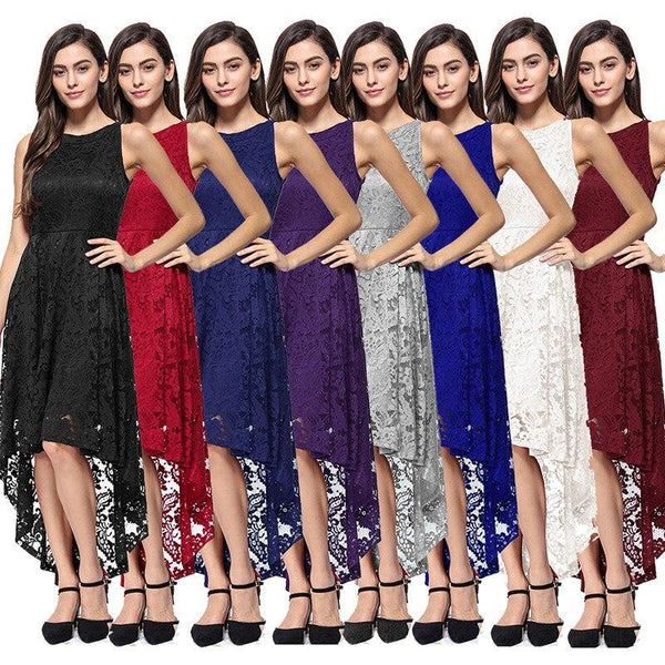 Vintage Style Women's Fashion Solid Color Lace Dress