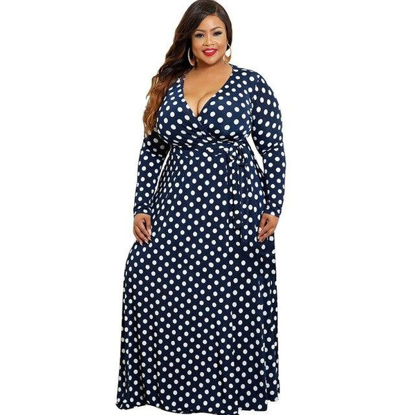 Plus Size Dress Dots Digital Printing A-Line