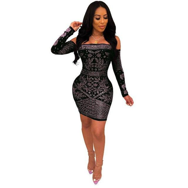 Sequin Bodycon Dress Hot Drilling Bag Hips