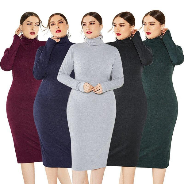 Solid Color Plus Size Sweater Dress