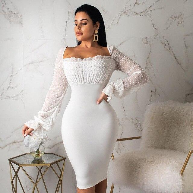Chiffon Stitching Long-sleeved Pencil Dress