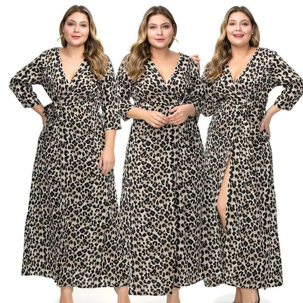 Plus Size Dress Ankle Length Grey Leopard V-neck