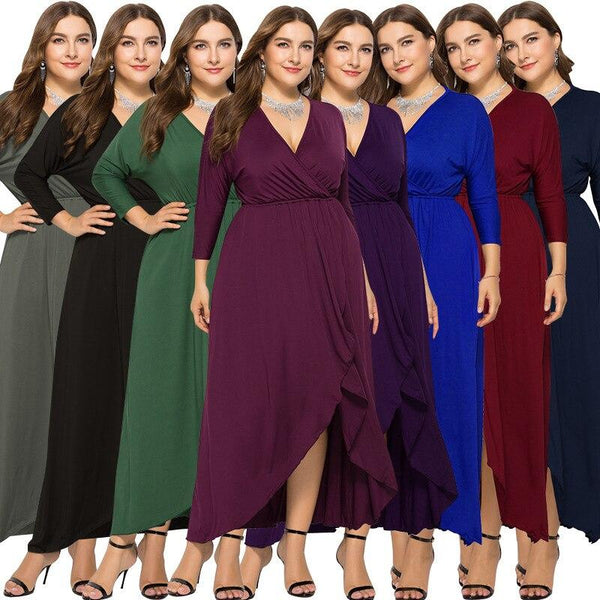 V-neck Plus Size Dress