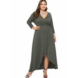 Long Sleeve Plus Size Evening Dresses - gray color
