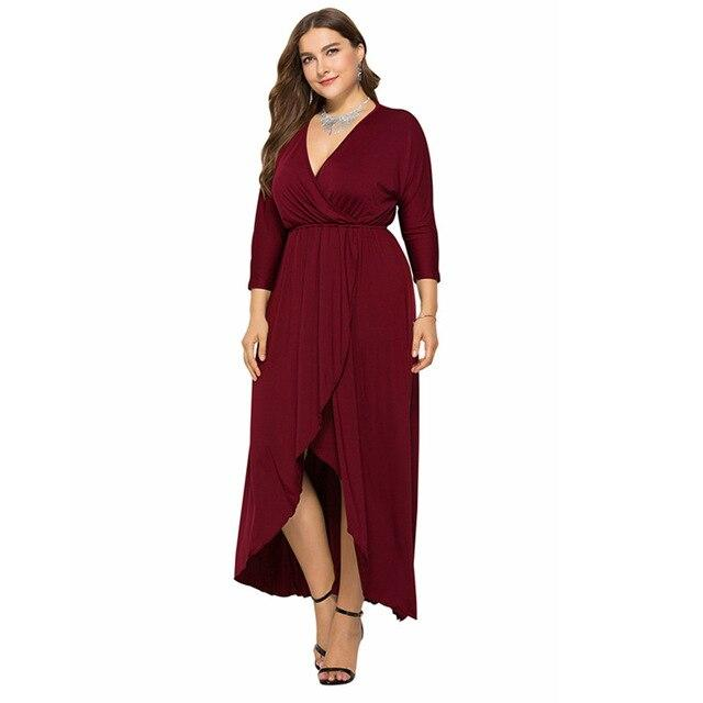 Long Sleeve Plus sSize Evening Dresses - burgundy color