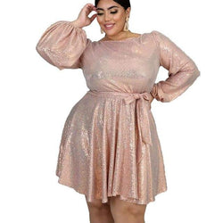 Plus Size Women  Sequined Long Sleeve Party Dress
