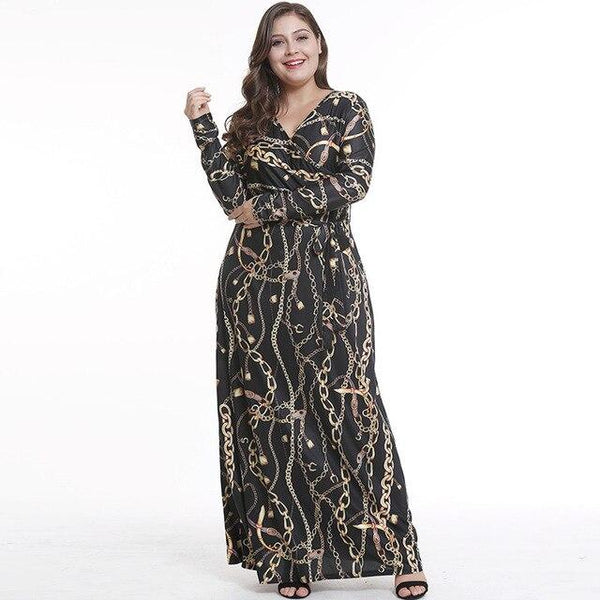 Plus Size Dress Ankle Length V-neck Slim Long Sleeve