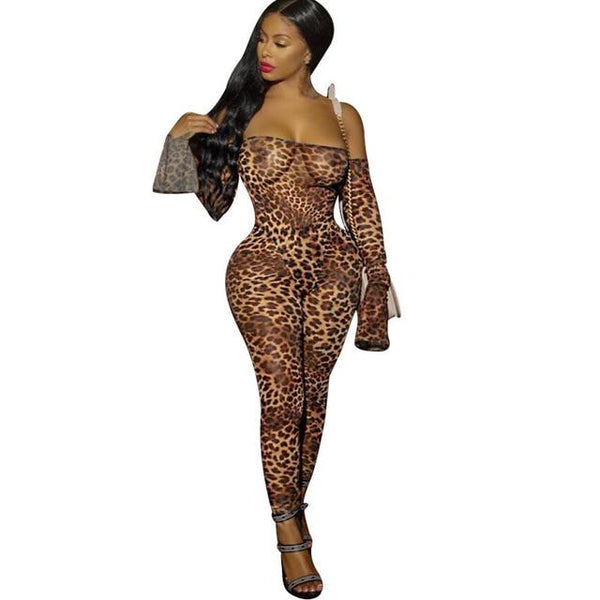 Womens Tight Fitting Jumpsuit Slash Collar Leopard