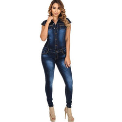 Streetwear Style Slimming Single-breasted Denim Jumpsuits