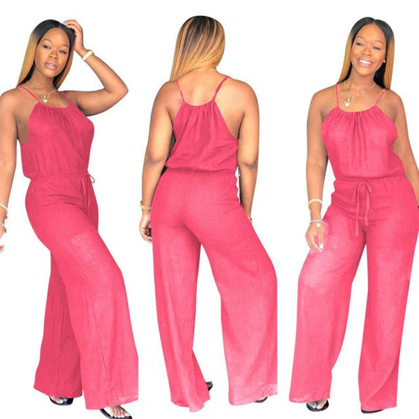 Solid Color Fashion Sleeveless Jumpsuits