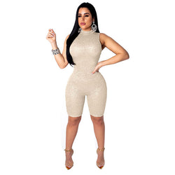 Round Neck Sleeveless Half Pant Jumpsuit