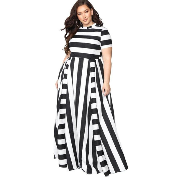 Black And White Plus Size Dress - black main picture