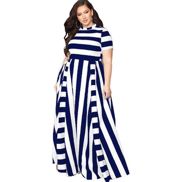 Black And White Plus Size Dress - blue color