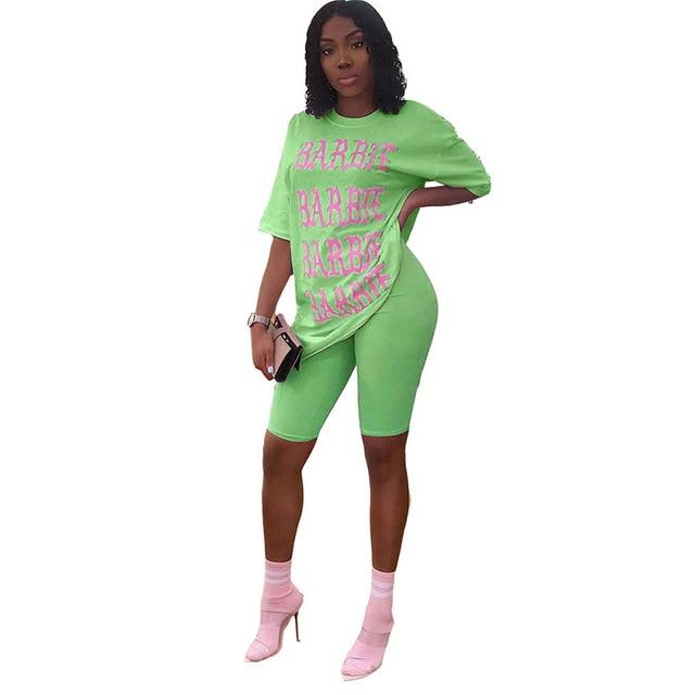 Plus Size Letter Casual 2 Pieces - green color
