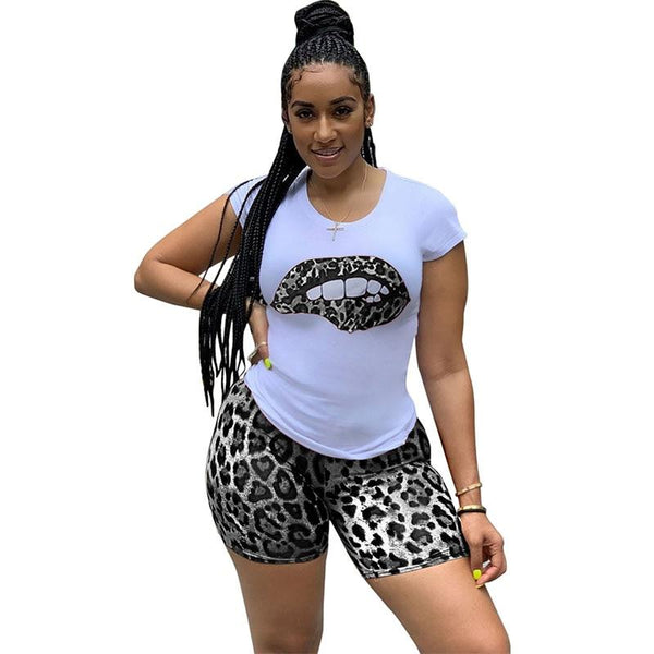 Plus Size  Tracksuit Lips Short Sleeve Matching Sets