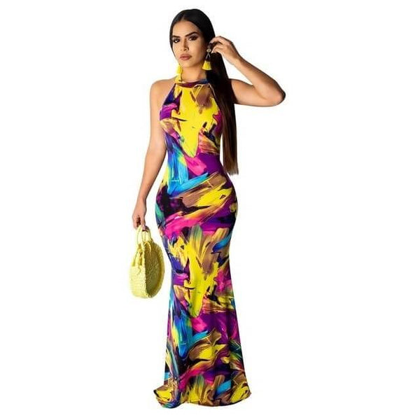 High Neck Maxi Dress - Yellow color