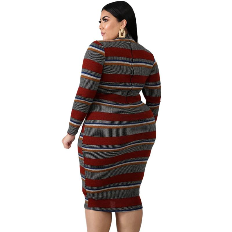 Autumn Plus Size  Round Neck Long Sleeve Striped Dress