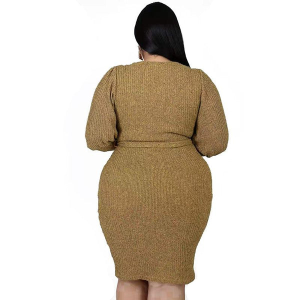 Autumn Long Sleeve Women  Large Dresses