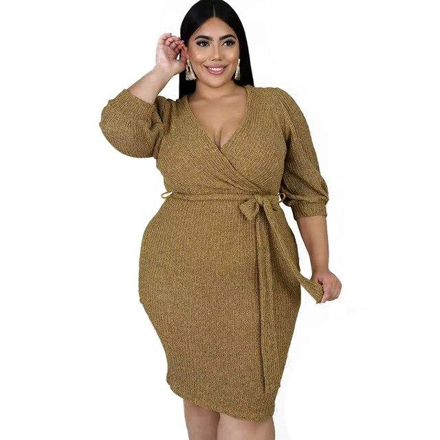 Plus Size Dresses With Sleeves - khaki positive