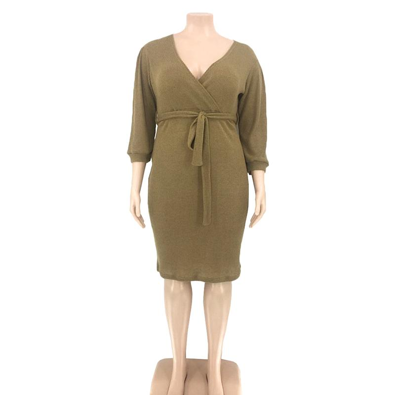 Plus Size Dresses With Sleeves - khaki color
