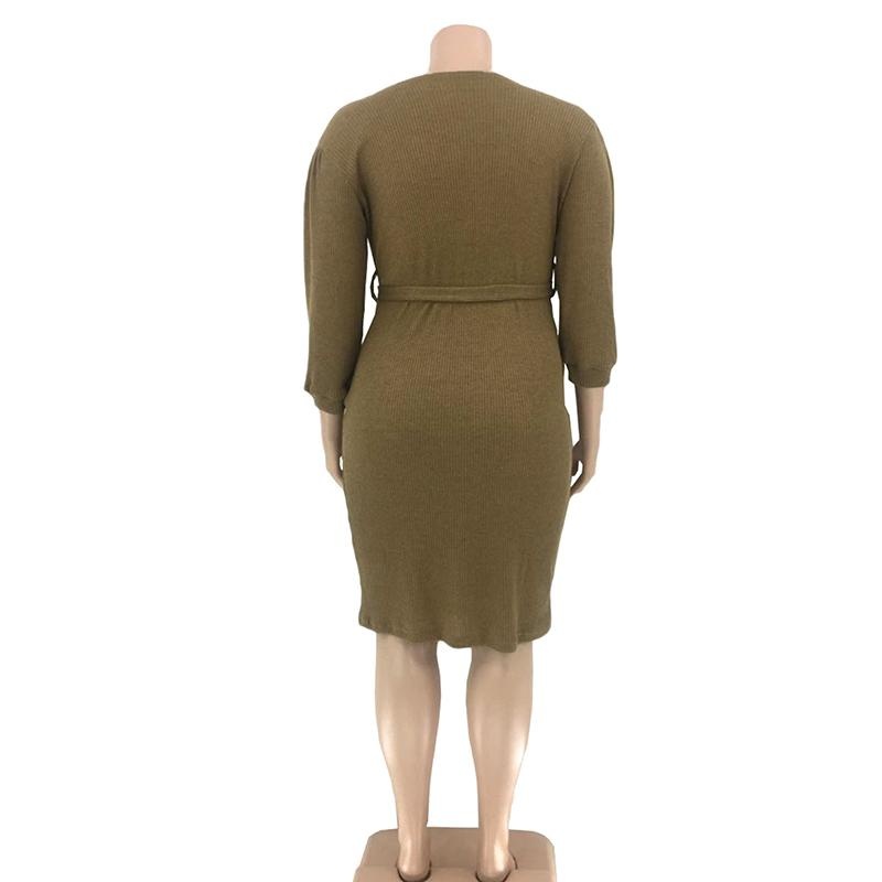 Plus Size Dresses With Sleeves - khaki model picture