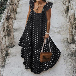 Black And White Polka Dot Maxi Dress - black color