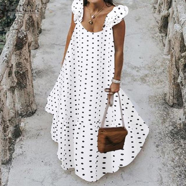 Black And White Polka Dot Maxi Dress -white color