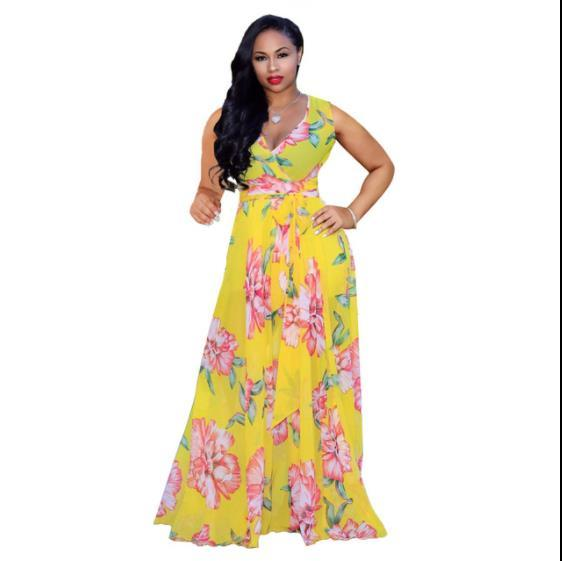 Casual Short Sleeve Maxi Dress-  yellow color