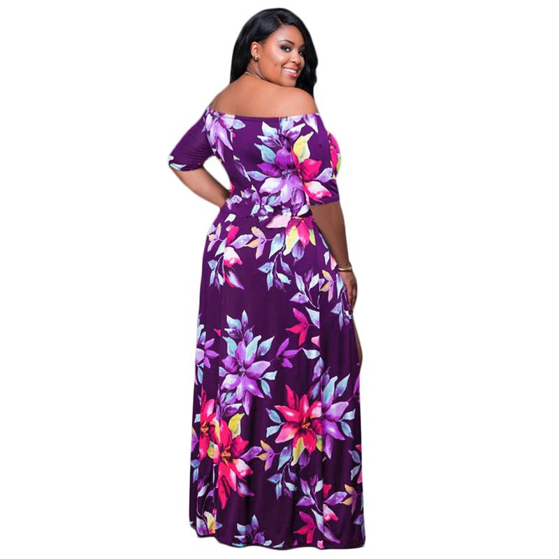 Summer Plus Size Dress Short Sleeve Off-the Shoulder