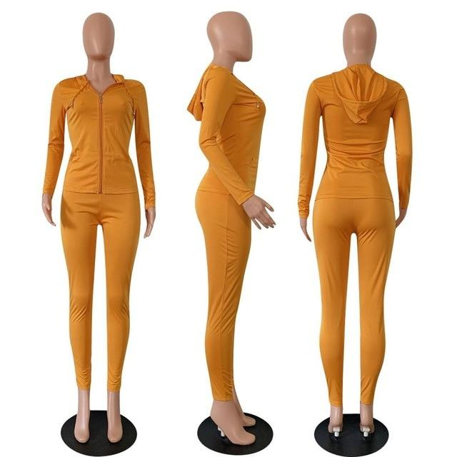 2 Piece Long Sleeve Set Ginger yellow color -model view