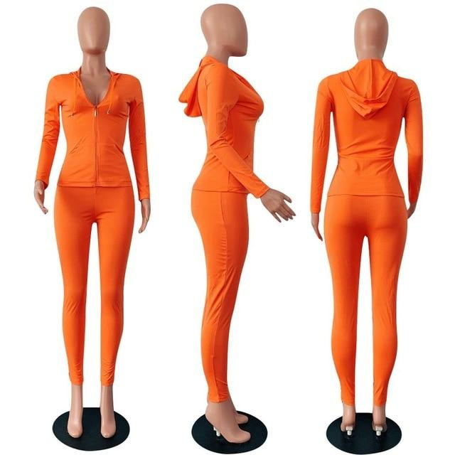 2 Piece Long Sleeve Set orange color -model view