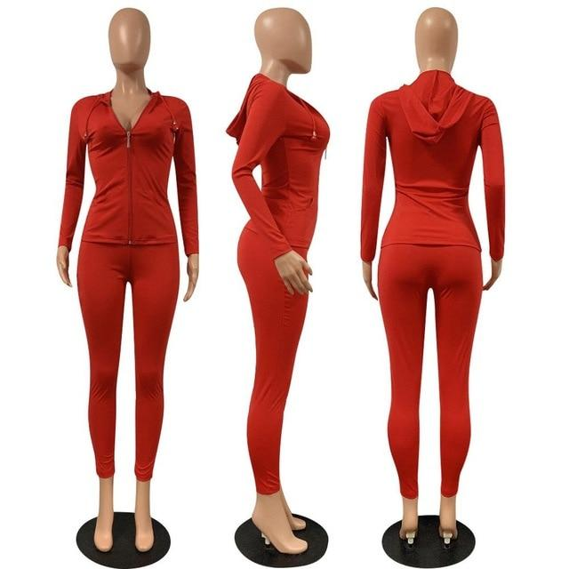 2 Piece Long Sleeve Set red color - model view
