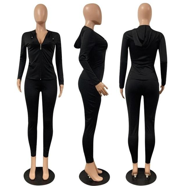 2 Piece Long Sleeve Set Ginger black color -model view