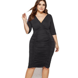 Plus Size Summer Dresses With Sleeves - black color
