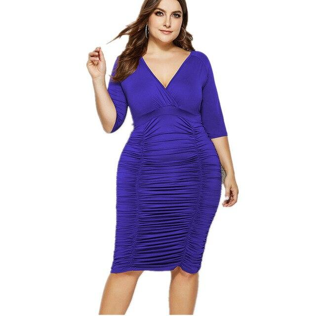 Plus Size Summer Dresses With Sleeves - blue color
