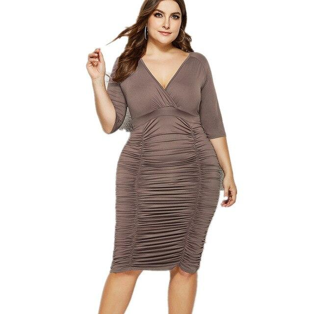 Summer Half Sleeve Deep V Neck Draped Dress