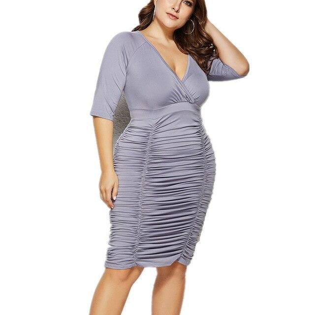 Plus Size Summer Dresses With Sleeves - gray back