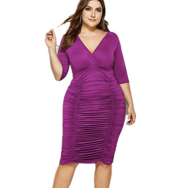 Plus Size Summer Dresses With Sleeves - purple color