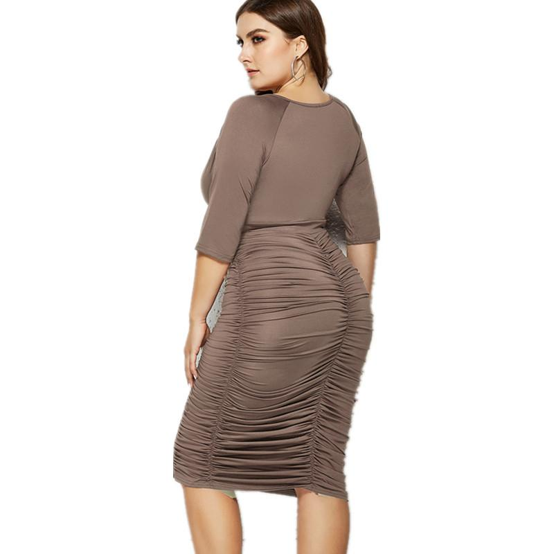 Plus Size Summer Dresses With Sleeves - coffee back
