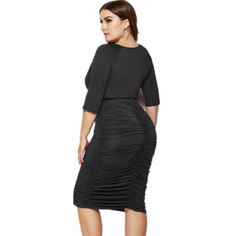 Plus Size Summer Dresses With Sleeves - black back