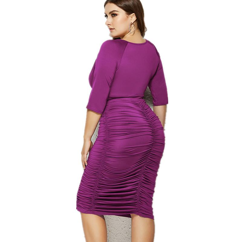 Plus Size Summer Dresses With Sleeves - purple back