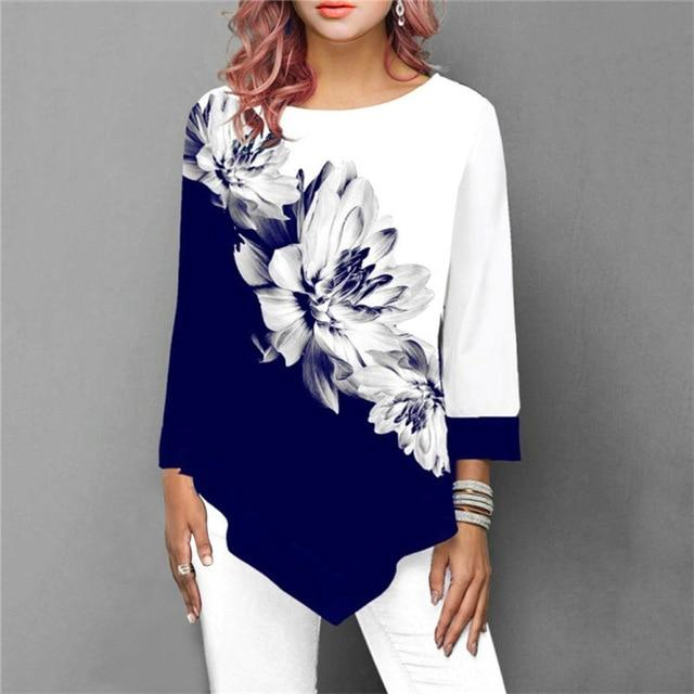 Three Quarter Ladies Tee Shirts Floral Print Loose Casual Tops
