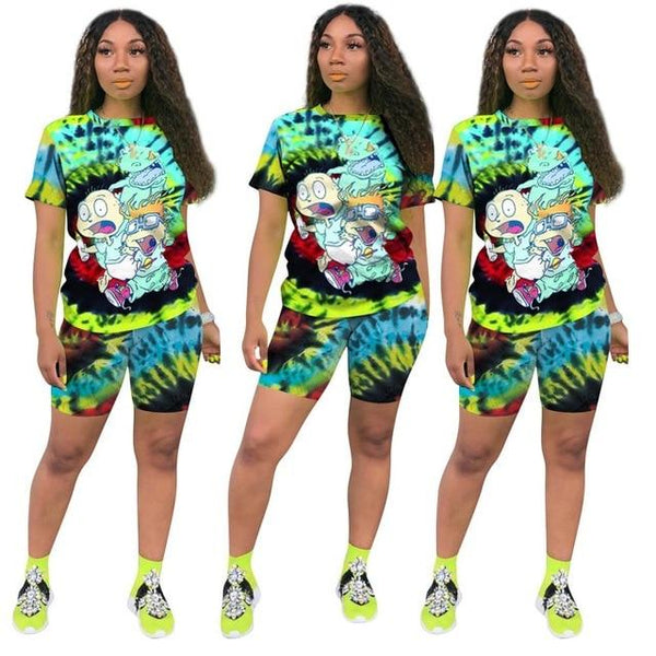 Plus Size Casual Fashion Printing Set - green color