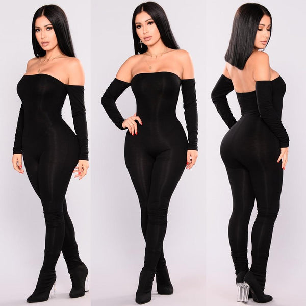 Off Shoulder Bodycon Long Sleeve Jumpsuits